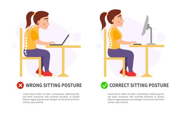 Vector poster wrong and correct sitting posture. Vector poster wrong and correct sitting posture. Illustration of cute girl. posture stock illustrations