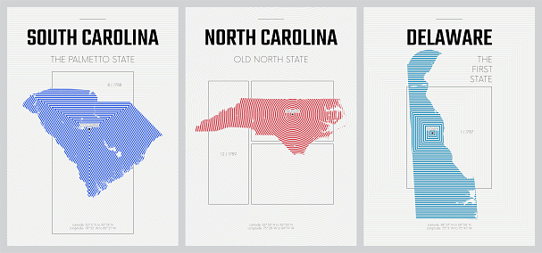 Vector posters detailed silhouettes maps of the states of America with abstract linear pattern, Division South Atlantic - South Carolina, North Carolina, Delaware - set 9 of 17
