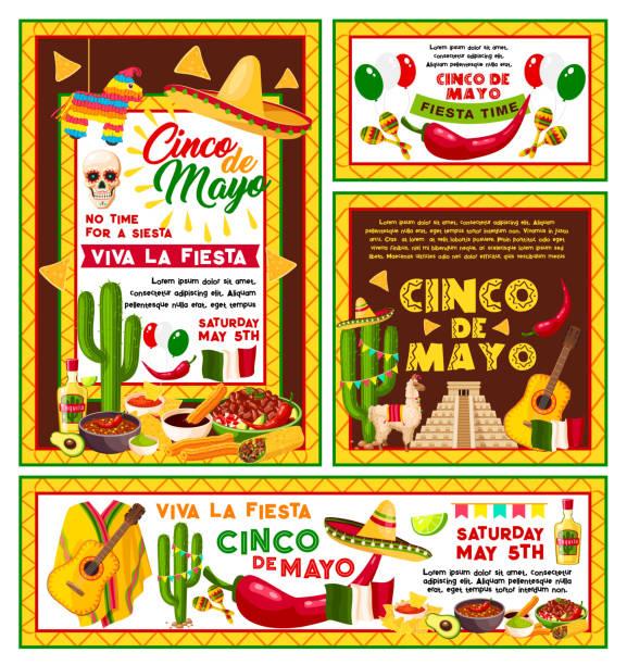 vector posters mexican cinco de mayo fiesta party - cinco de may stock illustrations, clip art, cartoons, & icons