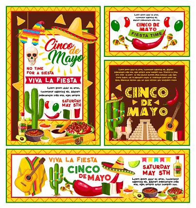 Vector posters Mexican Cinco de Mayo party
