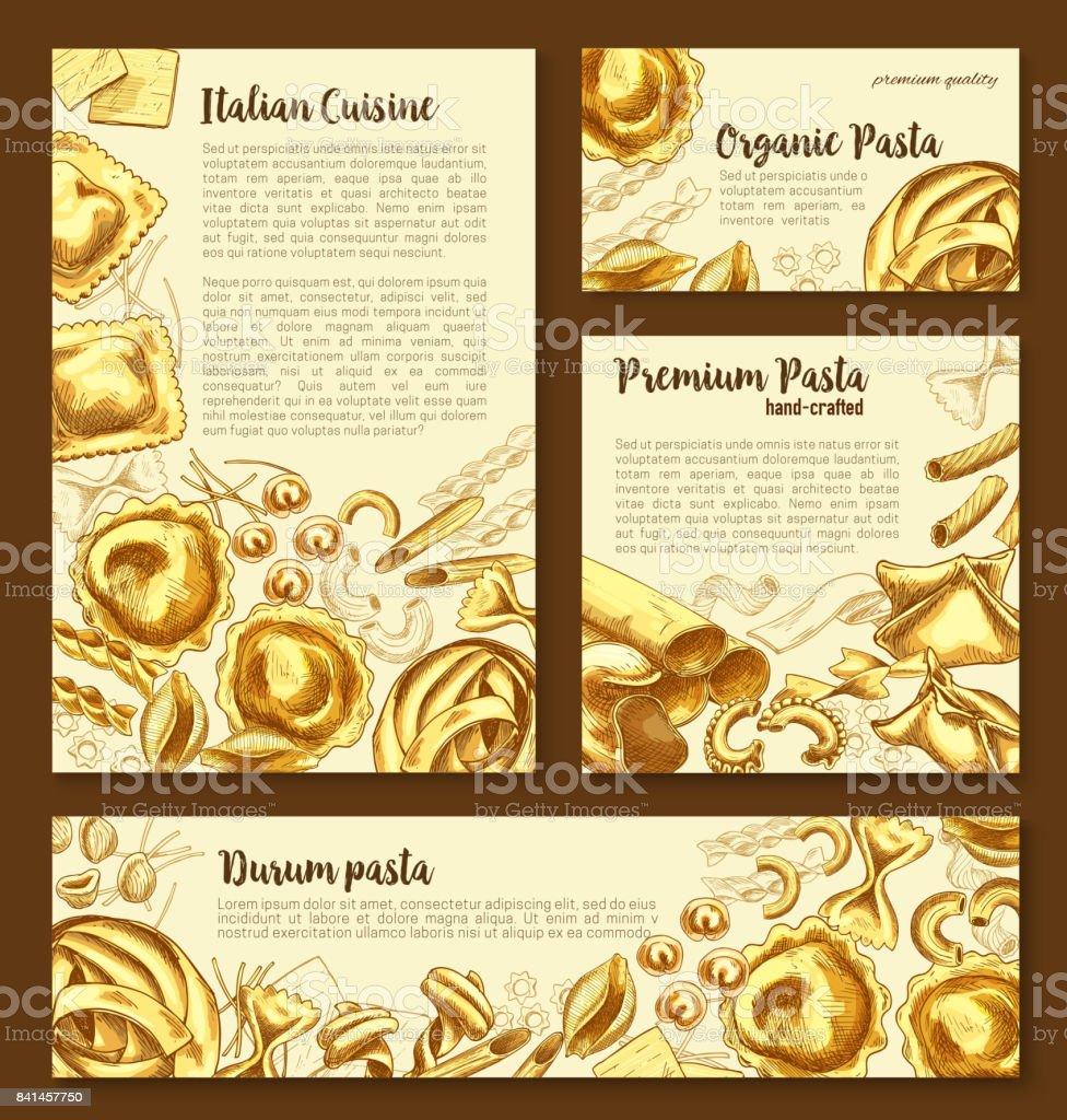 Vector posters templates set of Italian pasta vector art illustration