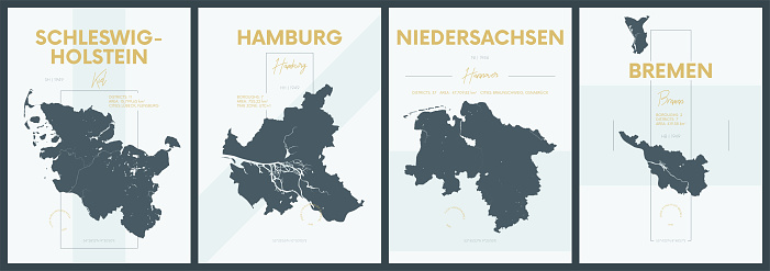 Vector posters with highly detailed silhouettes maps states of Germany - Schleswig-Holstein, Hamburg, Niedersachsen, Bremen - set 1 of 4