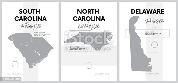 Vector posters with highly detailed silhouettes of maps of the states of America, Division South Atlantic - South Carolina, North Carolina, Delaware - set 9 of 17