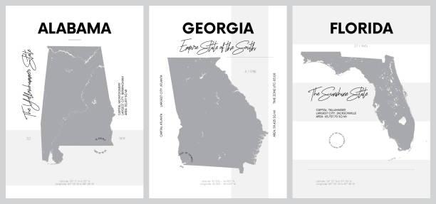 векторные плакаты с очень подробными силуэтами карт штатов америки, дивизии южной атлантики и восточной южной части центральной - алабамы,  - alabama stock illustrations