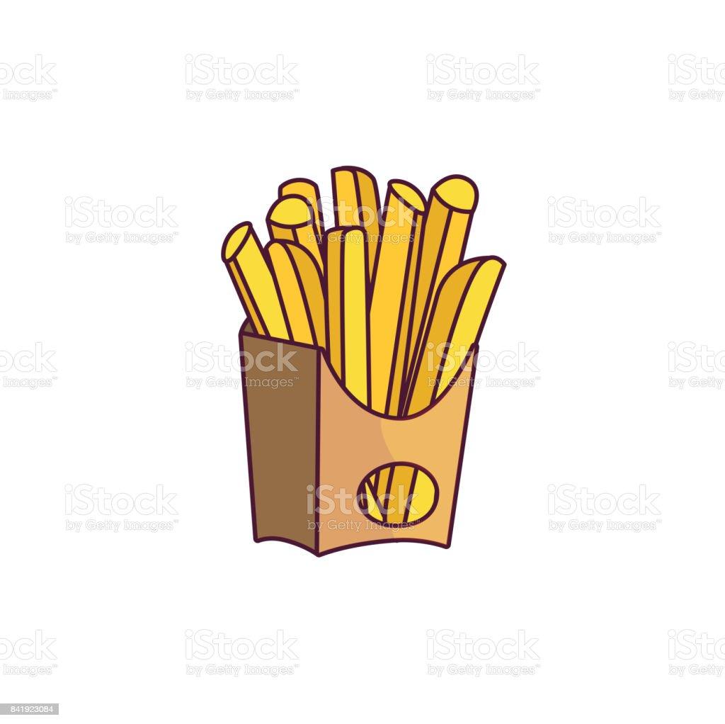 Vector potato fry, french fries on paper box vector art illustration