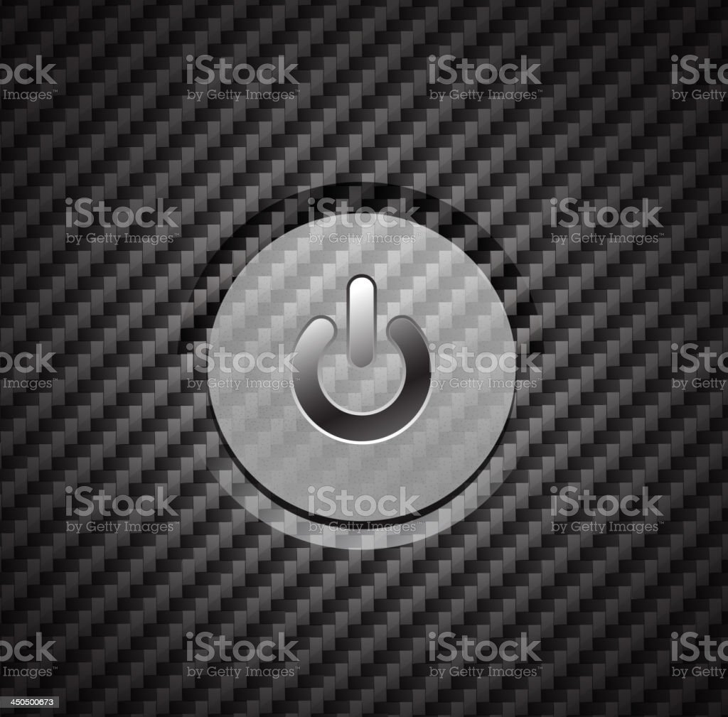 Vector power button on black texture royalty-free stock vector art