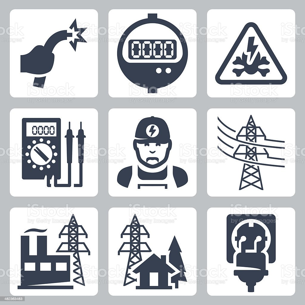 Vector Power Industry Icons Set Stock Vector Art & More Images of ...
