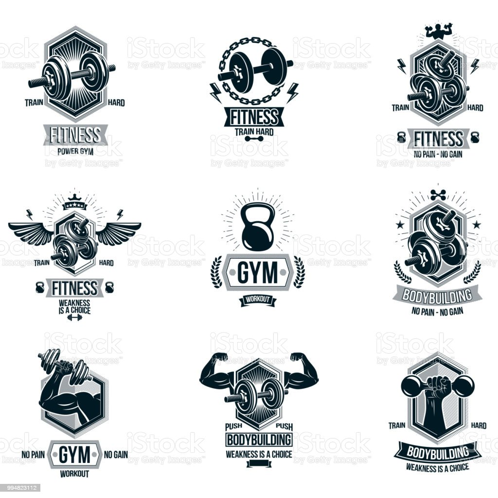 vector power lifting theme emblems and motivational flyer templates