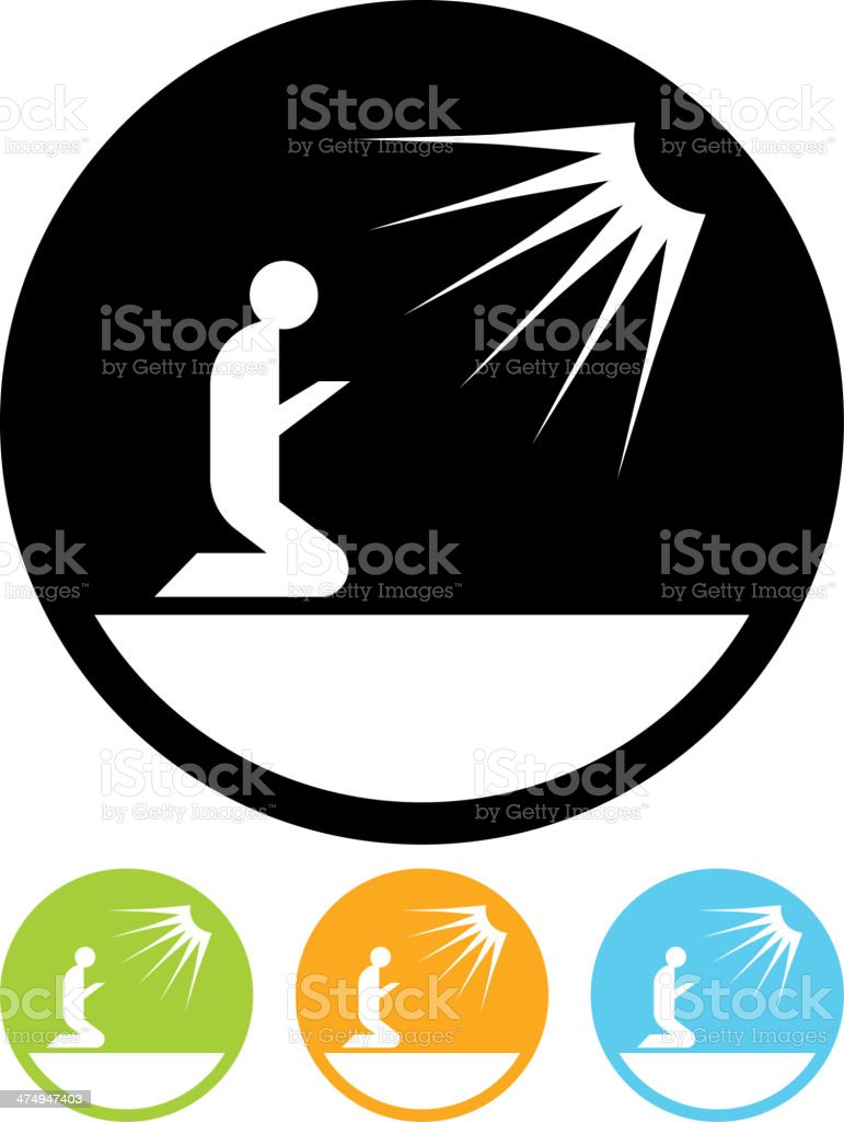 Vector Praying Man Icon Stock Vector Art & More Images of