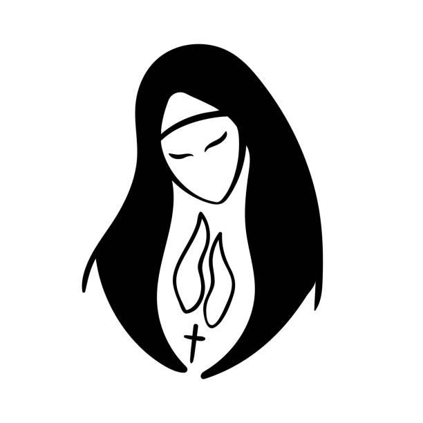 ilustraciones, imágenes clip art, dibujos animados e iconos de stock de vector retrato de monja orante - hermana