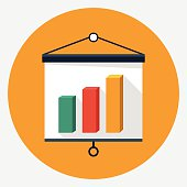 Vector presentation board and chart icon