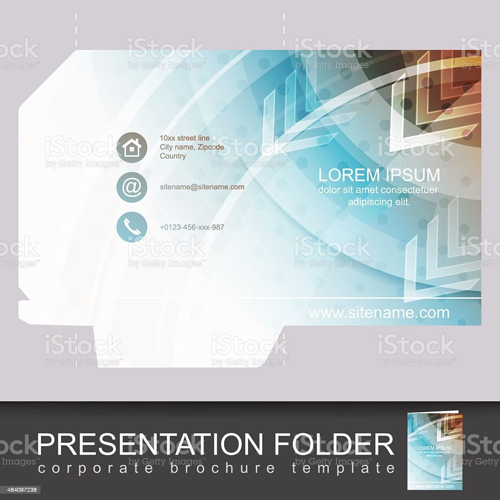 Vector presentation folder design template vector art illustration