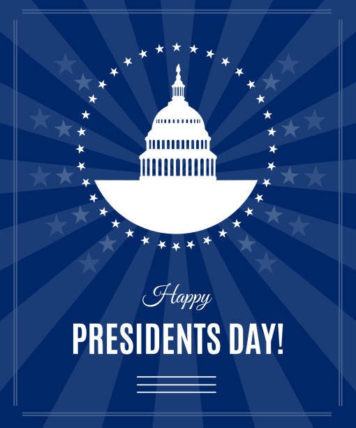 vector presidents day greeting banner with washington dc - presidents day stock illustrations, clip art, cartoons, & icons