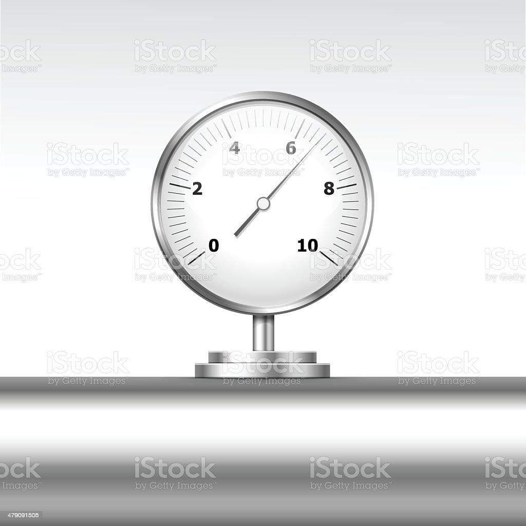 Vector Pressure Gauge Manometer Isolated on White Background vector art illustration