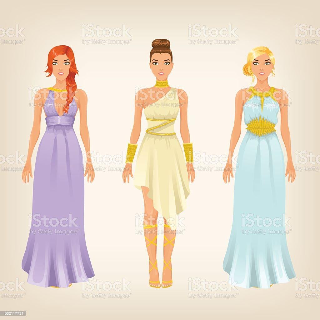 Vektorschöne Frauen Im Griechischen Stil Göttin Kleider Stock Vektor Art  und mehr Bilder von Armband