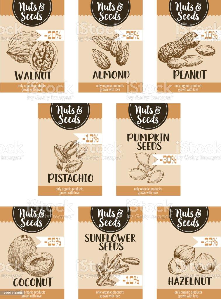 Cartazes de desenho vetorial preço de nozes e sementes de frutas - ilustração de arte em vetor