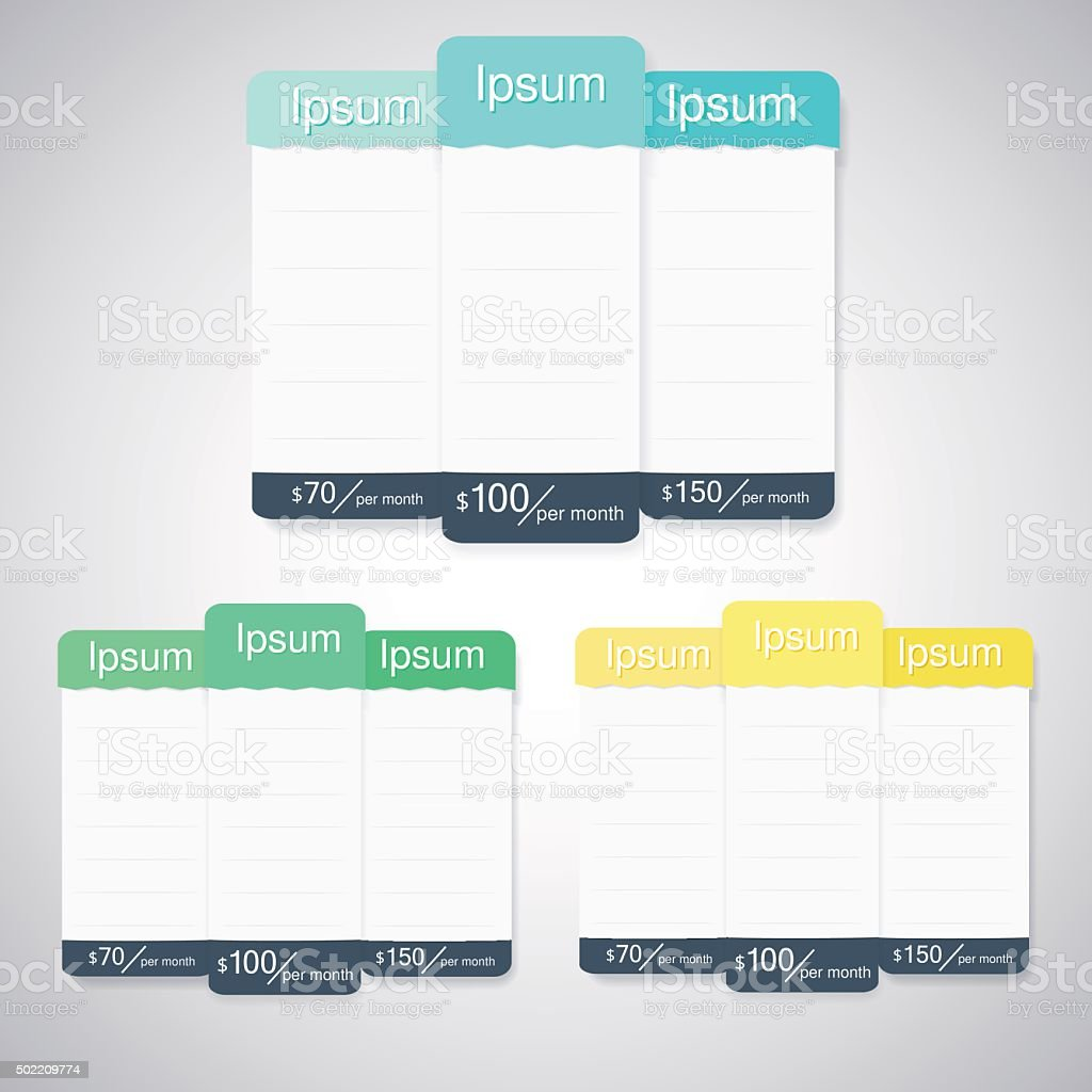 Vector pricing table, flat design style for websites and applications. vector art illustration
