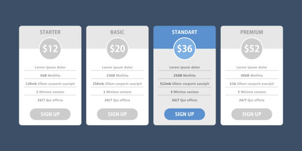 vector pricing table for websites and applications - pricing infographics stock illustrations, clip art, cartoons, & icons