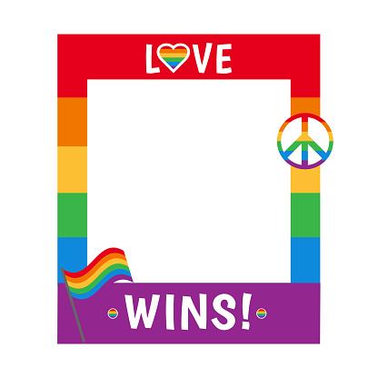 Vector pride frame LGBT symbols Love rainbow