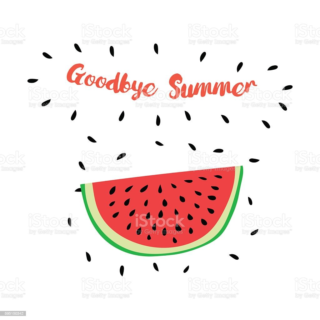 Superb Vector Print With Watermelon And Hand Writing Quote Goodbye Summer  Royalty Free Vector Print With