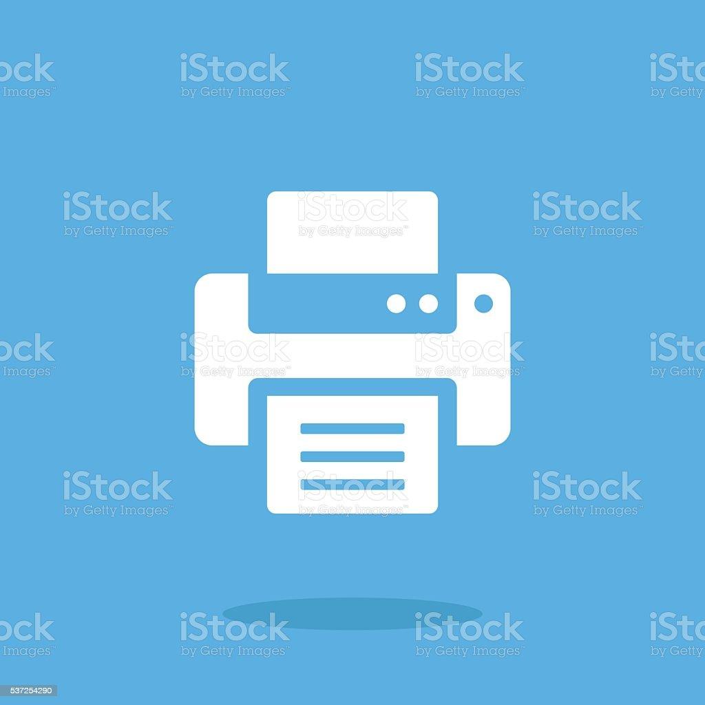 Vector printer icon. White printer icon