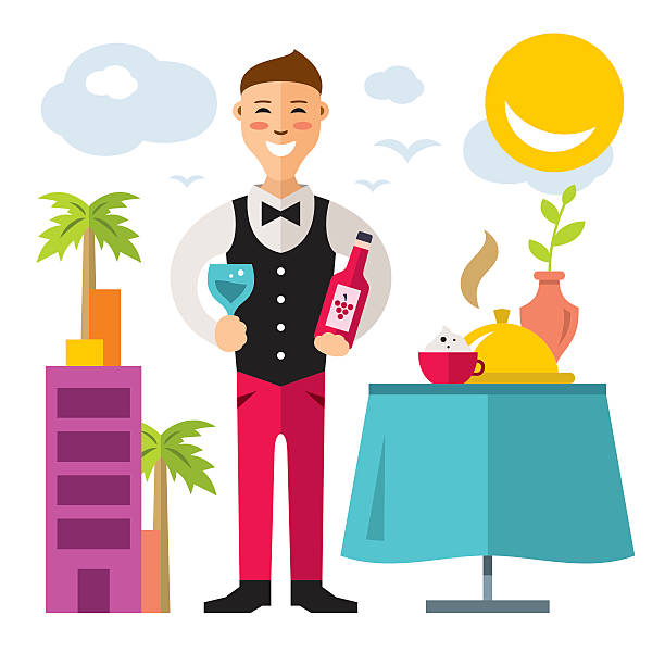 Vector professional Sommelier. Flat style colorful Cartoon illustration. vector art illustration