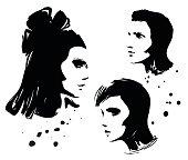 Three portrait illustration