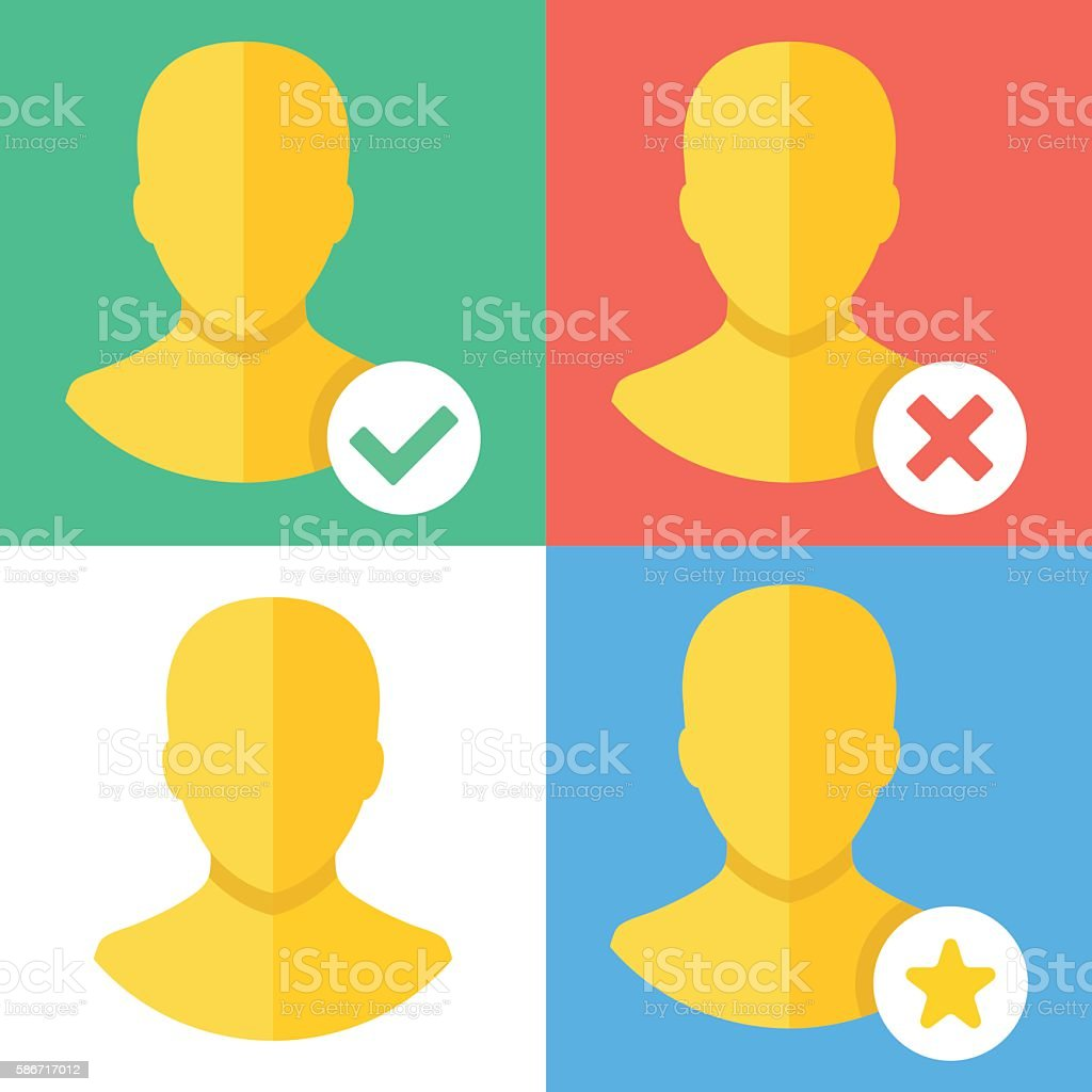 Vector profile icons set. Flat design concept vector art illustration