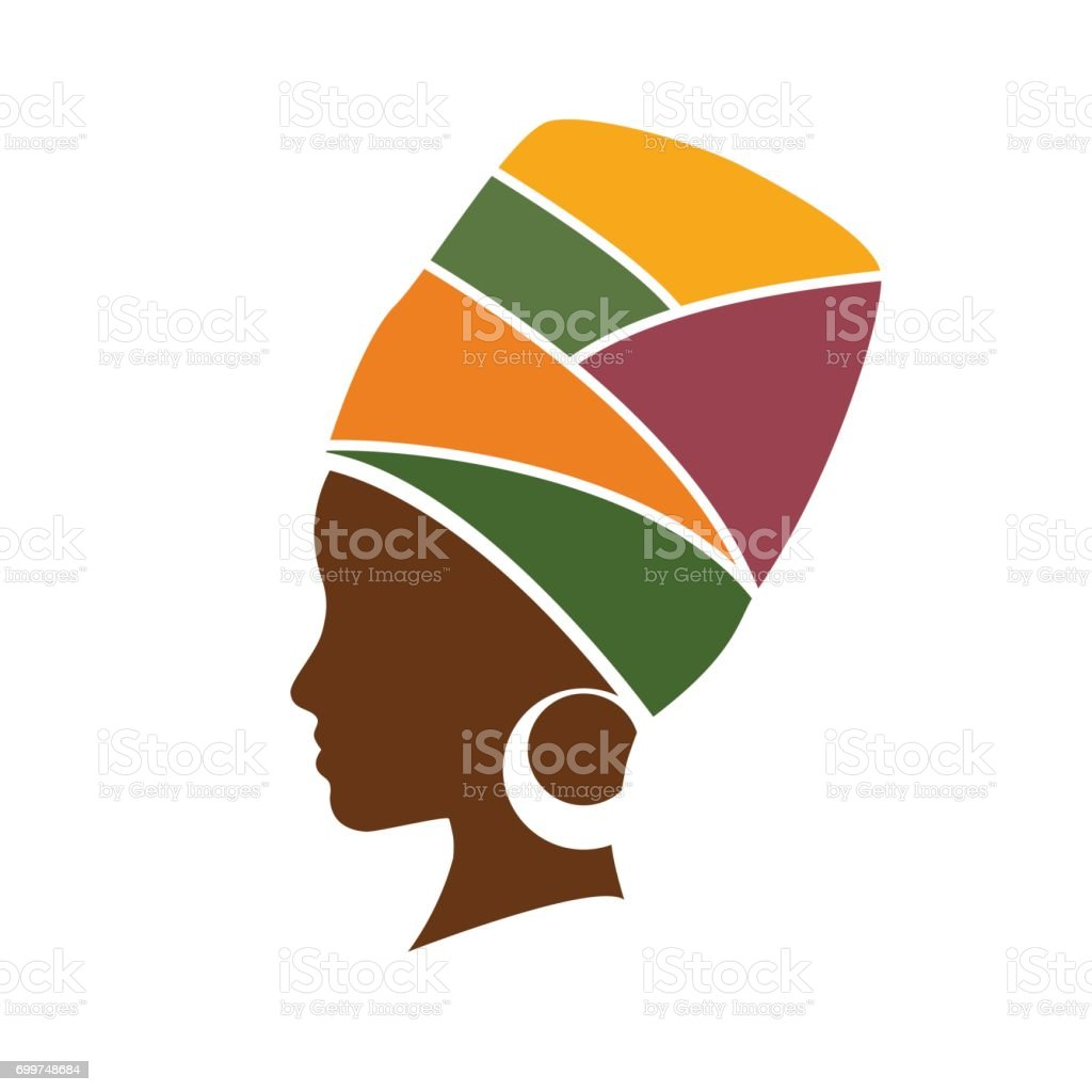 Vector profile of african woman with hat vector art illustration