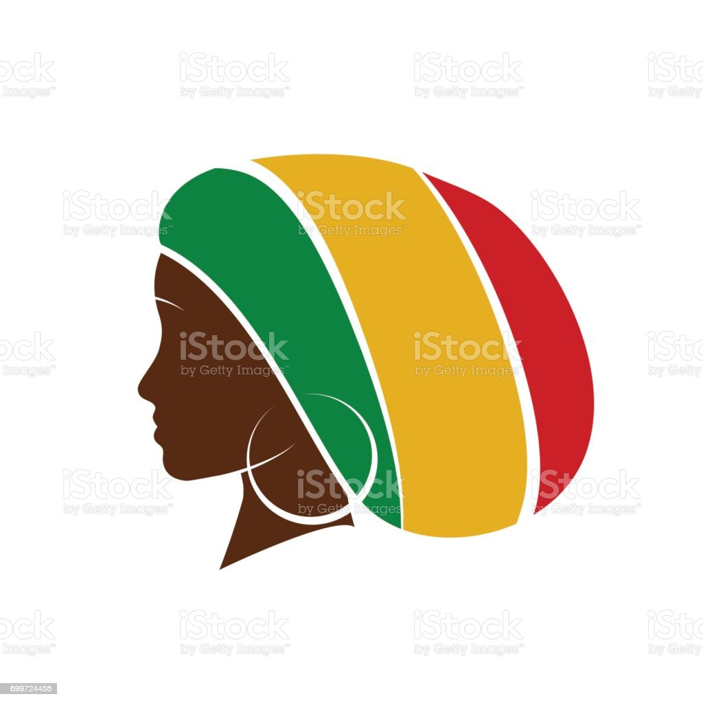 Vector profile of jamaican woman with hat