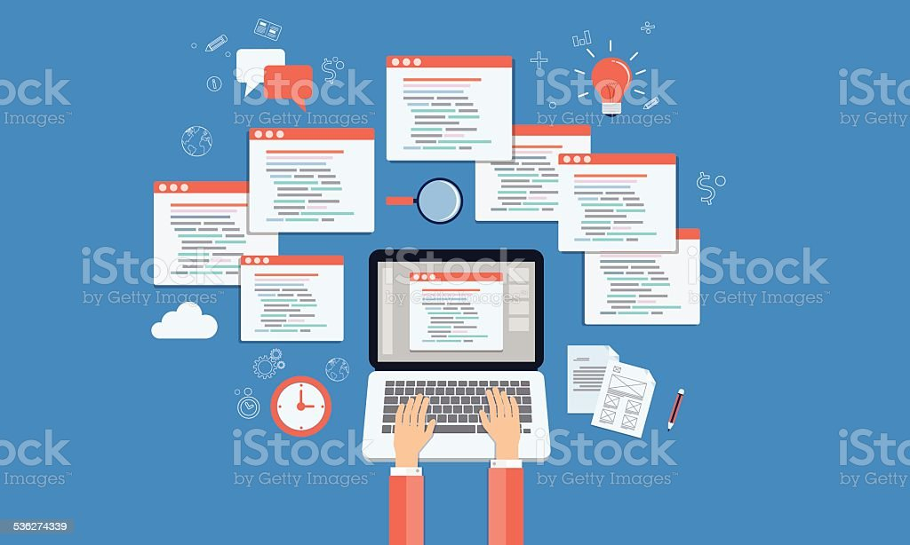 vector programer develop web site and application on laptop vector art illustration