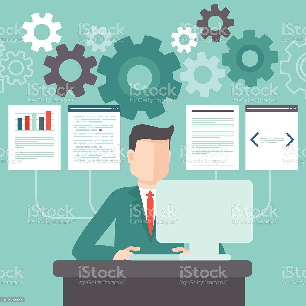 Vector programmer working on code vector art illustration