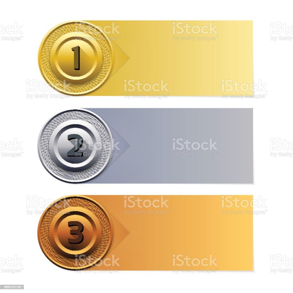 Vector Progress Background. Gold silver bronze banner. vector art illustration