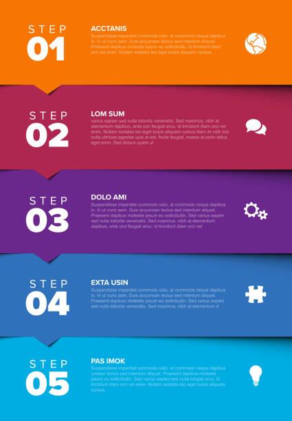 ilustrações de stock, clip art, desenhos animados e ícones de vector progress five steps template orange to blue - vertical