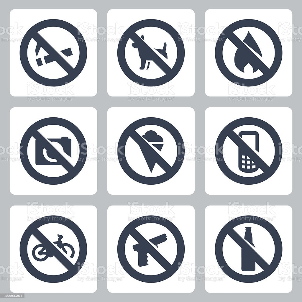 Vector 'prohibitory signs' icons set vector art illustration