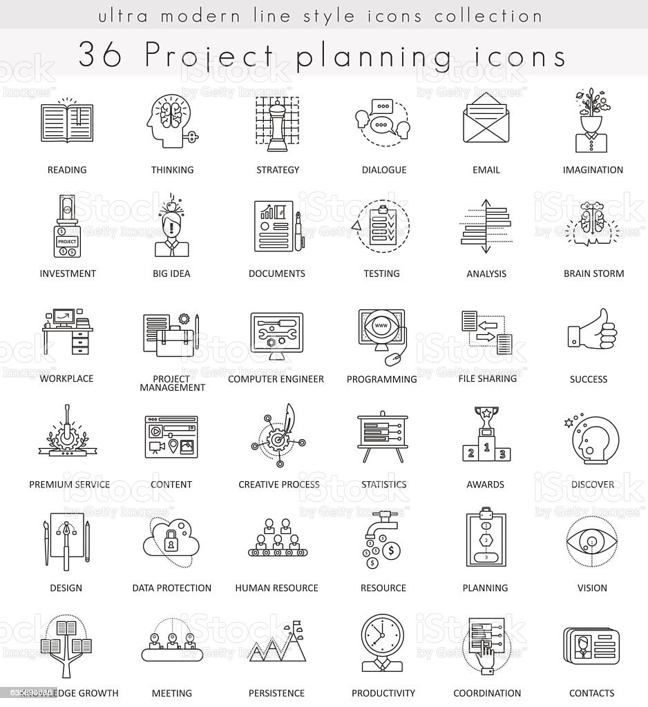 vector project planning strategy ultra modern outline line icons for