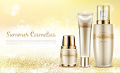 Vector realistic cosmetic background, promo banner for summer spf cosmetics. Series sunscreen products in elegant package on shining background with golden sparkles, mock up for glossy magazine