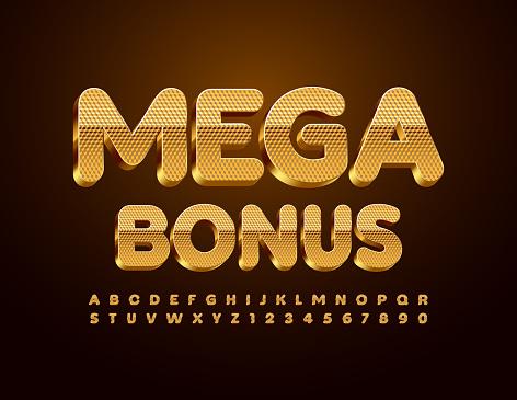 Vector promo banner Mega Bonus. Textured Gold Alphabet Letters and Numbers set