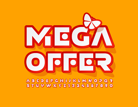 Vector promo banner Mega Offer with Decorative Butterfly. Creative Alphabet Letters and Numbers set