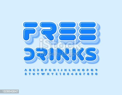 istock Vector promo flyer Free Drinks. Set of creative 3D Alphabet Letters and Numbers 1328540547