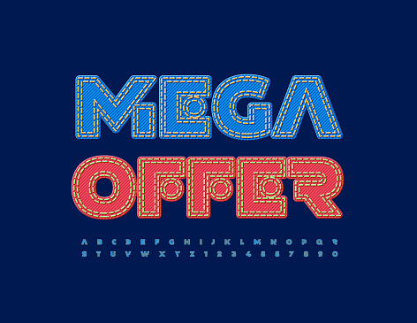 Vector Promo Poster Mega Offer. Blue Jeans Alphabet Letters and Numbers set