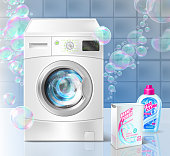 Vector realistic promotion banner of liquid detergent for laundry, with washing machine and soap bubbles on blue background. Mockup with plastic bottle and box for brand advertising, promo poster