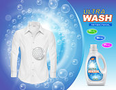 Vector promotion banner of liquid detergent for laundry or stain remover in plastic bottle, with white clean shirt on blue background with soap bubbles. Cleaning concept, mockup for brand advertising