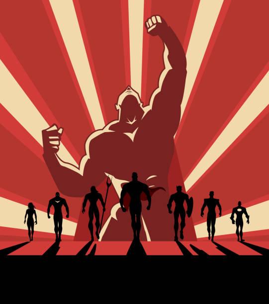 vector propaganda style superhero team illustration - cartoon muscle arms stock illustrations, clip art, cartoons, & icons