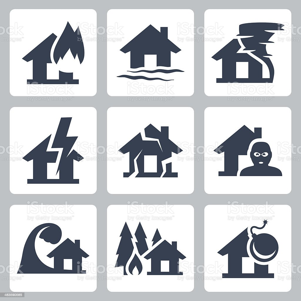 Vector property insurance icons set vector art illustration