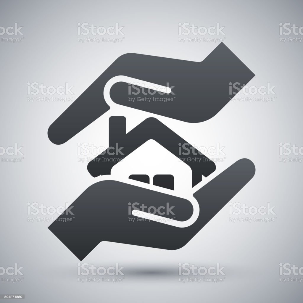 Vector protect house icon vector art illustration