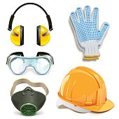 Vector Protective Equipment, including earphones, helmet, respirator, goggles and gloves, isolated on white background