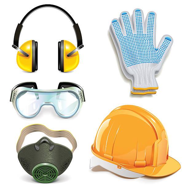ilustraciones, imágenes clip art, dibujos animados e iconos de stock de vector de equipo de protección - equipo de seguridad