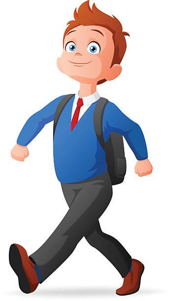 stockillustraties, clipart, cartoons en iconen met vector proud young boy in uniform walking to school - schooluniform