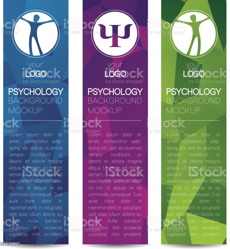 Vector Psychology Web banner design background or header Templates. Psi sign. Symbol and icon, icon. Profile Human. Creative style. Brand company concept. Blue violet green color book